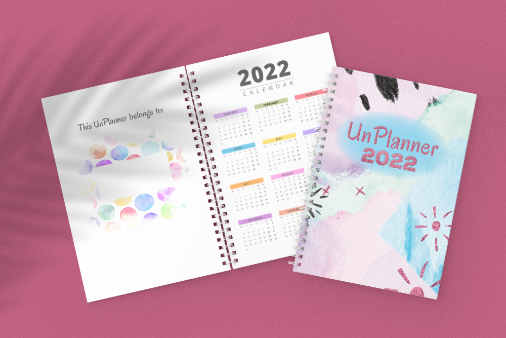 The UnPlanner 2022 cover and pages